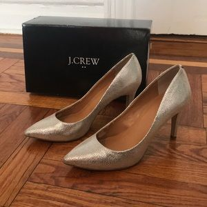 JCrew Isabelle crackled silver heels